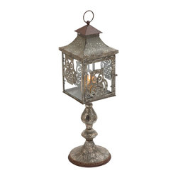 """Candle Holder with Charming Owl Motifs - Crafted to perfection, this elegant Metal Candle Holder 8""""W, 27""""H. This stylish candle holder is lavished with fine attention to details and gives settings a stylish, glamorous appeal. This designer candle holder is well suited for use indoors or outdoors, and is sure to bathe settings with its bright, warm light. Featuring a rich brown accent, this metal candle holder has a stylish and elegant look. This beautiful coach style candle holder is supported by an ornately detailed stand, which adds to the visual appeal of the design. Enchanting owl motifs adorn the candle holder, and give the design a unique look. Lavished with a distressed finish, the holder flaunts a vintage, classic look. Crafted from premium grade metal, this candle holder assures you of durability and long lasting use.. It comes with following dimensions"""