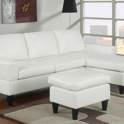 Poundex Furniture - Bobkona All in One Small Sectional Sofa Set - F7298 - Cream - Contemporary/Modern Look