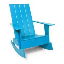 Loll Designs - 4 Slat Flat Standard Adirondack Rocker, Sky Blue - Now you can gently rock the day away in this updated Adirondack chair. Whether you're on a seaside porch or a backyard deck, nothing says carefree living like this chic rocker.