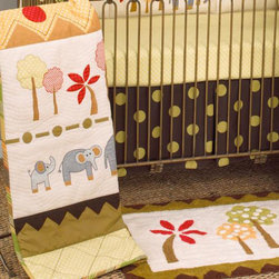 Cotton Tale Designs - Elephant Brigade 3 Piece Crib Bedding Set - A quality baby bedding set is essential in making your nursery warm and inviting. All Cotton Tale patterns are made using quality materials and are uniquely designed to create your perfect nursery. The Elephant Brigade collection is a unique pattern with bright colored forest and a family of elephants. Contemporary yet whimsical, the brigade crossing a landscape of beautiful greens, neutrals and red. The coverlet is quilted on natural percale with rich warm colors of the mountains and landscape at bottom and top. The quilt could easily be a piece of fun folk art adorning your nursery wall. The green dot sheet is 100% cotton, 300 thread count. The bed skirt is giant dot printed canvas. This pattern is wonderful for both boy and girl. Elephant Brigade is a baby bedding for the discriminating parent who appreciates original design. Wash gentle cycle, separate, cold water. Tumble dry low or hang dry.