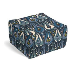 Navy Blue Modern Ikat Custom Pouf - The Square Pouf is the hottest thing in decor since the sectional sofa. This bean bag meets Moroccan style ottoman does triple duty as a comfy extra seat, fashion-forward footstool, or part-time occasional table. We love it in this modern navy ikat with touches of teal and mustard that's as spicy and seductive as midnight in Mumbai.