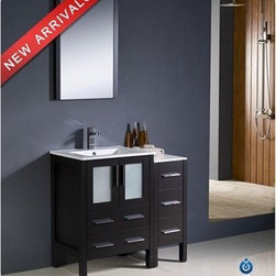 "Fresca - Fresca Torino 36"" Espresso Modern Bathroom Vanity with Side Cabinet & Integrated - Fresca is pleased to usher in a new age of customization with the introduction of its Torino line. The frosted glass panels of the doors balance out the sleek and modern lines of Torino, making it fit perfectly in either 'Town' or 'Country' décor. Available in the rich finishes of Espresso, Glossy White, Light Oak and Walnut Brown, all of the vanities in the Torino line come with either a ceramic vessel bowl or the option of a sleek modern ceramic integrated sink.Features Materials: Plywood w/ Veneer, Ceramic Sink Single Hole Faucet Mount (Faucet Shown In Picture May No Longer Be Available So Please Check Compatible Faucet List) Optional Leg Extensions Included P-trap, Faucet, Pop-Up Drain and Installation Hardware Included Overflow: Yes How to handle your counterInstallation GuideView Spec Sheets 1 View Spec Sheets 2"