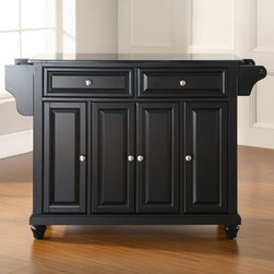 Crosley - Crosley Cambridge Solid Black Granite Top Kitchen Island - KF30004DBK - Shop for Kitchen Islands from Hayneedle.com! The gleaming speckled black surface of the Cambridge Solid Black Granite Top Kitchen Island is impressively elegant. You'll enjoy having a great workspace where you need it out of the way when you don't. Constructed of solid hardwood and wood veneers this beautiful kitchen island rolls easily on removable casters then locks in place. Two deep drawers and four cabinet doors sport raised panels and a hand-rubbed multi-step finish in a variety of shades. A convenient towel bar spice rack and paper towel holder hang on the sides. Inside you'll appreciate the three large adjustable shelves. Brushed metal hardware is a quality touch. Assembles easily. Granite is naturally impervious to just about everything and it's endlessly tough. About Crosley FurnitureIn 1920 Powel Crosley founded the company that pioneered radio broadcasting and mass market manufacturing around the world starting with a simple radio meticulously crafted with obsessive detail and accuracy and a measure of consideration for the wallet. These high ideals have served the company well for over 90 years and they live on in the newest addition to the family. Crosley Furniture sets a new standard for innovation function and meticulous craftsmanship in the manufacture of value-priced furniture. They proudly offer durable furniture products featuring hardwood and veneer construction with rich multi-step finishes in a multitude of styles.