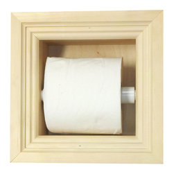 None - Recessed Toilet Paper Holder - Keep your toilet paper close at hand with this recessed toilet paper holder. This holder has ample space for large rolls. With its solid-pine construction,the holder looks great as it is,or can be stained or painted to match your bathroom decor.