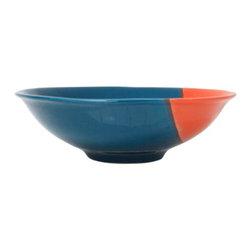 "Orange Mod Bowl - 11 1/2"" W x 3 1/2"" H - Painted ceramic, dishwasher safe."