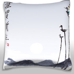Custom Photo Factory - Children Playing on Wooden Bird Polyester Velour Throw  Pillow - Children Playing on Wooden Bird Structure.  18 Inches x 18 Inches Pillow.  Made in Los Angeles, CA, Set includes: One (1) pillow. Pattern: Full color dye sublimation art print. Cover closure: Concealed zipper. Cover materials: 100-percent polyester velour. Fill materials: Non-allergenic 100-percent polyester. Pillow shape: Square. Dimensions: 18.45 inches wide x 18.45 inches long. Care instructions: Machine washable
