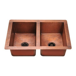 PolarisSinks - Polaris P209 Double Equal Bowl Copper Sink - Our handcrafted copper sinks add warmth and richness to a variety of decors. Our line of copper sinks come in a hammered finished with a beautifully aged patina. The Hammered finish will help hide small scratches that may occur over the lifetime of the sink. Copper is a naturally antibacterial and will not rust or stain, making it low maintenance. Each sink is fully insulated with sound dampening pads. Our copper sinks are covered by a limited lifetime warranty. Each sink comes with a cardboard cutout template and mounting hardware.