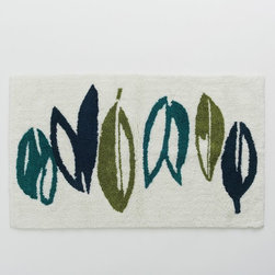 Rainforest Bath Mat - The soothing blues and greens of this large leaf print brings a rainforest feel to the bathroom.