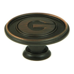 """Stone Mill Hardware - Georgia -Collegiate Hardware Cabinet Knob in Oil-Rubbed Bronze - Beautiful oil rubbed bronze finish. Engraved with the University of Georgia """"G"""". Solid, high-quality cabinet hardware."""