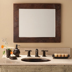 Sedona Small Rectangle Copper Mirror by Native Trails - A joy to behold - Sedona Rectangle Copper Mirror draws attention and opens up a room with its elegant beveled mirror, rich, attentive color, and prominent corners. This hand-hammered copper piece is offered in an Antique patina finish. Available in small or large; mounts vertically or horizontally.