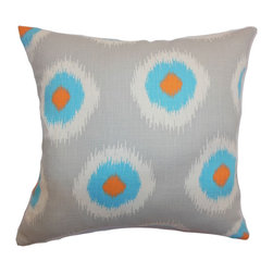 """The Pillow Collection - Paegna Ikat Pillow Chili Peppers 18"""" x 18"""" - Liven up your space with this modern and vibrant throw pillow. This accent pillow comes with a dose of scene-stealing colors in grey, aqua and orange. The ikat print adds an eclectic touch to your furniture. This decor pillow easily blends with solids and patterns. This square pillow is made from fluffy and plush materials. Made from 100% soft cotton fabric. Hidden zipper closure for easy cover removal.  Knife edge finish on all four sides.  Reversible pillow with the same fabric on the back side.  Spot cleaning suggested."""