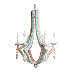 Kathy Kuo Home - Limed Wood Coastal Beach Turquoise Inlay Six Bulb Chandelier - If you like to keep things neutral, this chandelier is the perfect choice. With limed wood, smooth cabochons of magnesite and a beige hanging chain, its French-inspired aesthetic blends beautifully with its surroundings.