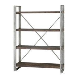 Carolyn Kinder - Carolyn Kinder Greeley Metal Etagere X-69342 - Antiqued silver metal frame and cross stretchers with walnut stained, weathered fir wood shelf planks.