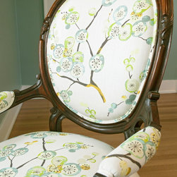 Gable Master Bedroom - Treasured family piece reupholstered in contemporary fabric