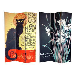 Oriental Furniture - 6 ft. Tall Double Sided Chat Noir Room Divider - Bring home the splendor of the Belle epoque with these art deco poster prints from turn of the century Paris. On the front is a famous advertisement by Theophile Alexandre Steinlen, renowned illustrator and feline aficionado from the Montmartre artist community. This classic poster announces the reopening of the acirctre du Chat Noir (the Black Cat Theatre), featuring a black alley cat with a stylized art deco halo. On the back is another poster for the 'Black Cat' by bohemian artist George Auriol (a frequenter of the cabaret), with tall white Iris flowers over a simple black background. Brighten your living room, bedroom, dining room, or kitchen with the unmistakably classy prints on this versatile room divider. This three panel screen has different images on each side, as shown.