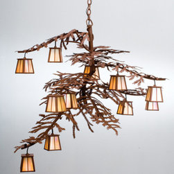 """Meyda Lighting - Meyda Lighting 48"""" W Pine Branch 12 Lt Chandelier 30126 - Twelve small lanterns adorn the Pine Branch shaped arms of this unique nature inspired chandelier. The handsome twelve light chandelier in a rust"""