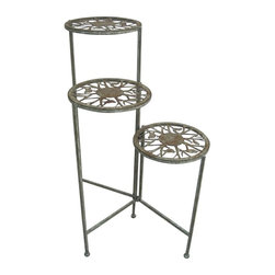 Alpine Fountains - Metal 3 Tier Plant Stand - Made of Metal. 1 Year Limited Warranty. Assembly Required. Overall Dimensions: 20 in. L x 18 in. W x 31 in. H (4.4 lbs)The graceful 3-Tier Plant Stand dazzles with its elegant, flowing designs and deep bronze coloring. Stylish metal tiered plant stand features vining birds and branches mingled with scrolling accents. Furnishing has three plateau's for your potted plants.