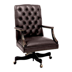 Like a Boss Collection - Hole in One Executive Chair - If you're looking for comfort and a classic look for your office, you've hit the nail on the head with this chair. The high back is tufted in dark brown leather, continuing on the padded arms and seat trimmed with antiqued-brass nailheads. Now, go hammer out that big deal.