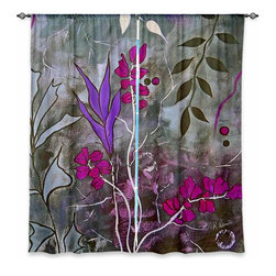 """DiaNoche Designs - Window Curtains Lined by Ruth Palmer Fuschia Nights - Purchasing window curtains just got easier and better! Create a designer look to any of your living spaces with our decorative and unique """"Lined Window Curtains."""" Perfect for the living room, dining room or bedroom, these artistic curtains are an easy and inexpensive way to add color and style when decorating your home.  This is a woven poly material that filters outside light and creates a privacy barrier.  Each package includes two easy-to-hang, 3 inch diameter pole-pocket curtain panels.  The width listed is the total measurement of the two panels.  Curtain rod sold separately. Easy care, machine wash cold, tumble dry low, iron low if needed.  Printed in the USA."""