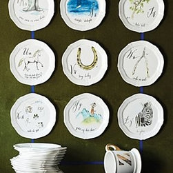 "Linea Carta - Calligrapher Canape Plate - An Anthropologie exclusive by Linea CartaAvailable in letters A-ZStonewareDishwasher and microwave safe6.5"" diameterImported"