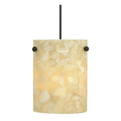 "Tech-Tiella Lighting - Razzo Pendant by Tech-Tiella Lighting - The clean form of the Tech-Tiella Razzo Pendant makes it the ideal pendant to infuse a contemporary space with the distinctive texture and warm glow of natural stone. The cylindrical shade is composed of numerous chips of natural onyx, complemented by petite metal accents. For mounting options, see below. Tech-Tiella rail products are not compatible with Tech rail products.Out of Skokie, IL, Tech-Tiella Lighting produces some of North America's best low-voltage lighting solutions, including rail track systems, pendants, track heads, wall sconces and ceiling fixtures. Tech-Tiella Lighting is part of the Tech Lighting family of brands.The Tech-Tiella Razzo Pendant is available with the following:Details:Cylindrical, Onyx shadeMetal accentsPyrex glass shieldCeiling canopy finish matches finish option selected72"" field-cuttable suspension cableLow-voltageETL ListedOptions:Finish: Bronze, or Satin Nickel.Mounting: Freejack, Monopoint, or Monorail.Mounting Details:Freejack: See Related Items for mounting options.Monopoint: Includes one 4"" round flush canopy and low-voltage transformer.Monorail: Includes Freejack adaptor for Monorail installation.Lighting:One 50 Watt 12 Volt Bi-Pin Low-voltage Halogen lamp (included).Shipping:This item usually ships within 3 to 5 business days."