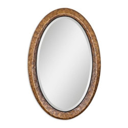 """Uttermost - Uttermost Capiz 34x22 Vanity Mirror - Heavily antiqued capiz shell with metal rope details. Mirror has a generous 1 1/4"""" bevel."""