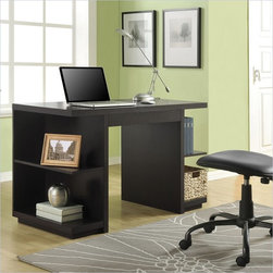 Altra Furniture Hollow Core Desk in Espresso Finish - The Hollow Core Desk gives you the modern feel with the chunky look. The open side shelves are great to store books, folders and refrence materials. The drawer holds supplies and small items to keep your desk clutter free.