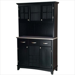 Home Styles - Home Styles Furniture 3-Drawer Large Black Wood Buffet with Stainless Steel Top - Home Styles - Buffet Tables & Sideboards - 5100004342 - Smartly styled and equally practical for any dining or entertaining area the Home Styles Large Buffet and 2-Door Hutch has every one of your serving needs covered. Beginning with an easy-clean stainless steel table top ideal for any task this buffet is amply equipped with three spacious pull drawers an open central shelf above a 9-bottle wine rack and two large adjustable shelf compartments with inset-paneled doors. The accompanying hutch presents additional storage capacity with two open shelves and a pair of single shelf cabinets behind plexi-glass panel doors. Stylish brushed nickel handle and knob hardware join an arched apron and taper-cut feet in adding further character while a white/ivory finish adds a natural charm.