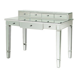 "Catherine Vanity Desk - Dimensions: 43.5"" x 26"" x 34.5""H. Beveled glass with silver pulls. Mirrored finish."