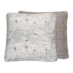 Chloe & Olive - World Map with Vintage Airplanes Throw Pillow, Gray, 18x18 - Elevate your child's air travel fascination with this stylish collection from Chloe & Olive.
