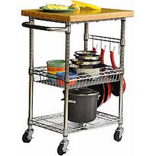 Trinity EcoStorage Chrome Bamboo Top Kitchen Cart | Overstock.com