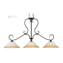 Quoizel - Quoizel DH348PN Duchess Traditional Kitchen Island / Billiard Light - Indulge in classic European elegance for your home with this refined design fit for royalty.  The hand-forged iron is twisted into graceful curves, while the trumpeted shades celebrate the beauty of light with their warm gradation of color.