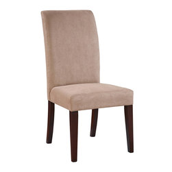 """Powell - Powell Classic Seating """"Slip Over"""" Parsons Chair in Beige (Set of 2) - Slip over parsons chair in beige belongs to classic seating collection by Powell. Parsons chair has straight back with exposed """"Merlot"""" finished tapered, square legs. Seat and back are upholstered in dark beige microfiber, 100% polyester. Use chair by itself or use with """"Slip over"""" slipcovers, items 741-200 through 741-268. Leg assembly required."""