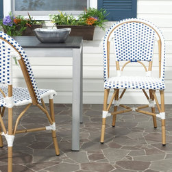 Safavieh - Safavieh Salcha Stackable Dining Side Chair - Set of 2 - FOX5210A-SET2 - Shop for Chairs and Sofas from Hayneedle.com! The Safavieh Salcha Stackable Dining Side Chair - Set of 2 updates the traditional farm chair with a colorful twist that will enliven your living spaces. Tried-and-true styles will always have a place in furniture design but when they are reinvented through creative imaginings as the Salcha chairs have been they provide a visual pop with inherent versatility. The result is a harmonious transitional piece that is at once eye-catching and easily integrated into almost any setting or decor. The bamboo-styled aluminum frame and two-toned PE wicker construction have a soft contemporary appeal that is attractive enough for interior accent yet durable enough to stand up to the elements as patio seating.About SafaviehConsidered the authority on fine quality craftsmanship and style since their inception in 1914 Safavieh is most successful in the home furnishings industry thanks to their talent for combining high tech with high touch. For four generations the family behind the Safavieh brand has dedicated its talents and resources to providing uncompromising quality. They hold the durability beauty and artistry of their handmade rugs well-crafted furniture and decorative accents in the highest regard. That's why they focus their efforts on developing the highest quality products to suit the broadest range of budgets. Their mission is perpetuate the interior furnishings craft and lead with innovation while preserving centuries-old traditions in categories from antique reproductions to fashion-forward contemporary trends.