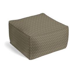 Taupe Geometric Square Pouf - The Square Pouf is the hottest thing in decor since the sectional sofa. This bean bag meets Moroccan style ottoman does triple duty as a comfy extra seat, fashion-forward footstool, or part-time occasional table.  We love it in this modern maze of taupe & white on soft cotton sateen.