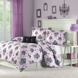 Mizone - Mizone Katelyn Comforter Set - Katelyn is the perfect way to add color and fashion to your bedroom. This comforter mini-set brings in a great combination of purple with black to create this fun damask pattern. The pattern is printed on super soft micro-fiber and reverses to a black colored soft micro-fiber fabric. One decorative pillow is also included in the set. The comforter will fit a Twin or Twin XL size bed Comforter/sham: face: 100% polyester peach skin printed fabric; back: 100% polyester brushed fabric; Comforter filling: 200g poly fill; pillow: poly cover and poly fill