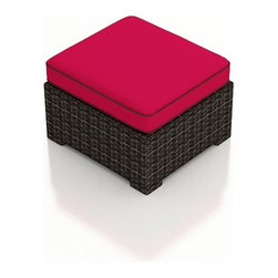 Forever Patio - Capistrano Modern Outdoor Ottoman, Flagship Ruby Cushion - The Forever Patio Capistrano Outdoor Wicker Ottoman with Red Sunbrella cushions (SKU FP-CAP-O-MC-FF) makes for a comfortable footstool, extra seat or sectional extension. The mocha resin wicker is UV-protected and features dual tones that give it a more natural look, suiting a wide range of outdoor decor schemes. This ottoman includes a fade- and mildew-resistant Sunbrella cushion, available in a wide selection of colors. With so many options, you are sure to find that perfect look for your patio.