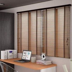 "American Blinds Signature Wood Blinds in Mink with 1"" Cloth Tapes in Coffee - Signature Wood Blinds by American Blinds are offered in 1 3/8"", 2"", and 2 1/2"" slat sizes, and are available in a beautiful range of painted and stained finishes. They're made from genuine basswood, and feature distinctive wood grain and a protective UV resistant finish. The trapezoidal bottomrail ensures better slat closure. Upgrades include ladder tapes, loop control, rounded corners and routeless slats."