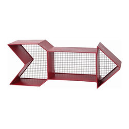 Silver Nest - Red Arrow Wall Shelf - Red metal arrow wall shelf to hang and store your coolest items. Mesh, metal backing...