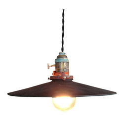 """The Pepin Shop - Reflector Flat Filament 10"""" Pendant Aged Steel - Original Lamps from 20th-century industrial lighting with Victorian Bulb."""