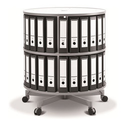 Empire Office Solutions - Moll Spin & File Binder Storage Carousel - Two Tier in White Wood w/ Laminate - Save office space with this fully rotating two tier binder storage shelving unit. With just a touch, the entire circular shelving column turns in a full rotation. Two shelf tiers keep binders, books and media in easy reach. The sturdy top offers a handy work area.