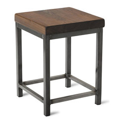"Vermont Farm Table - Square Metal Stool, Walnut, 18""h - You don't have to live in an industrial loft to get the cool aesthetic. The combination of rich walnut and cool metal is a perfect play on the sophisticated trend. Choose from three heights to meet your countertops and pull up a stool for your next meal."