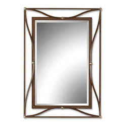 Thierry Beveled Mirror - *This beveled mirror features an iron frame.  The scratched bronze finish has champagne silver leaf accents.