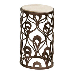 American Drew - American Drew Bob Mackie Round End Table with Metal Base - Soft gentle shapes, unique patterns, a mixture of materials and elegant details all describe the unique elements that are synonymous with a Bob Mackie gown; and these motifs are evident in the Bob Mackie Home? Signature collection by American Drew. The Signature collection is a fresh twist on classic designs. The inspiration and story is the creative use of materials and veneer work. The finish is a beautiful Rosewood color with veneer details in primavera, ebony, walnut burl, mahogany and cherry. Black granite, antiqued mirror and golden color accents add depth, drama and sparkle to this collection. Ribbon, lace, feather and starburst motifs add the 'dare to be noticed' flair to this group. Custom designed jewelry-like hardware, pierced brass collars and brass feet on selected items add a fine, finished look to each piece.