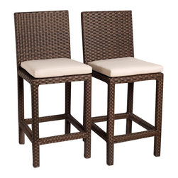 International Home Miami Corp - International Home Miami Atlantic Monza Set of 2 Barstool - International Home Miami Corp - Outdoor Bar Stools Patio Barstools - PLI Monza barstools2 - The Atlantic Bari armchair set makes an amazing addition to your outdoor seating space. The weather-resistant wicker construction is designed in an intricate woven pattern. The chairs have a durable aluminum frame, offering protection from damage by rust and external impacts. Convenient armrests and high backrests offer supreme comfort.