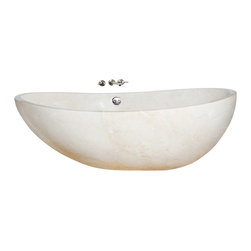 The Allstone Group - Crema Marfil Polished Bathtub - Natural stone strikes a balance between beauty and function. Each design is hand-hewn from 100% natural stone.  Relaxation to many is soaking in a bath.  What could be better than be surrounded by the beauty and feel of natural stone?