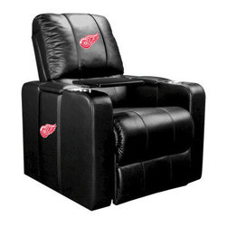 Dreamseat Inc. - Detroit Red Wings NHL Home Theater Plus Leather Recliner - Check out this Awesome Leather Recliner. Quite simply, it's one of the coolest things we've ever seen. This is unbelievably comfortable - once you're in it, you won't want to get up. Features a zip-in-zip-out logo panel embroidered with 70,000 stitches. Converts from a solid color to custom-logo furniture in seconds - perfect for a shared or multi-purpose room. Root for several teams? Simply swap the panels out when the seasons change. This is a true statement piece that is perfect for your Man Cave, Game Room, basement or garage. It combines contemporary design with the ultimate comfort from a fully reclining frame with lumbar and full leg support.