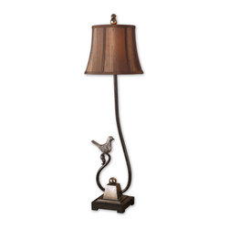 Uttermost - Peaceful Buffet Lamp - Add this dark bronze buffet lamp to your sideboard or console table for a pretty, graceful accent. The little bird is antiqued with a silver finish and the lovely bronze foot adds stability. The oval shade is silkened chocolate bronze with natural slubbing.