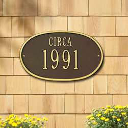 "Oval ""Circa"" Plaque - Simple and prestigious, this plaque is a novel way to celebrate a new home or business or to indicate historic status. A classy addition to any exterior, high quality aluminum and weather resistant paint make this a long lasting, worthy investment."