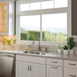 Kitchen Windows: Slider - White slider vinyl replacement window from Feldco.
